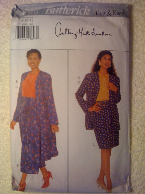 Butterick Sewing Pattern 3302 90s Misses and Misses Petite Jacket, Top and Skirt Size 8-10-12 Uncut