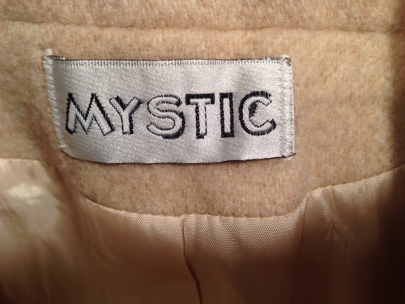 Vintage Unisex Tan Wool Coat with Scarf By Mystic Size 14 SALE