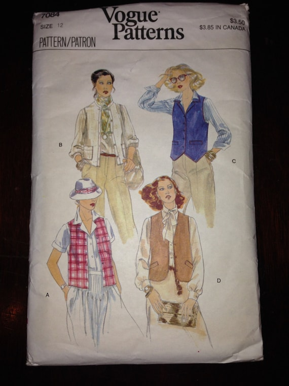 Vogue 7084 Sewing Pattern 1970s Misses Vests Size 12
