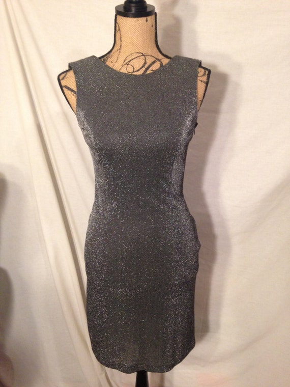 Vintage Grey Shimmer Dress By Betsy & Adam Size 5-6