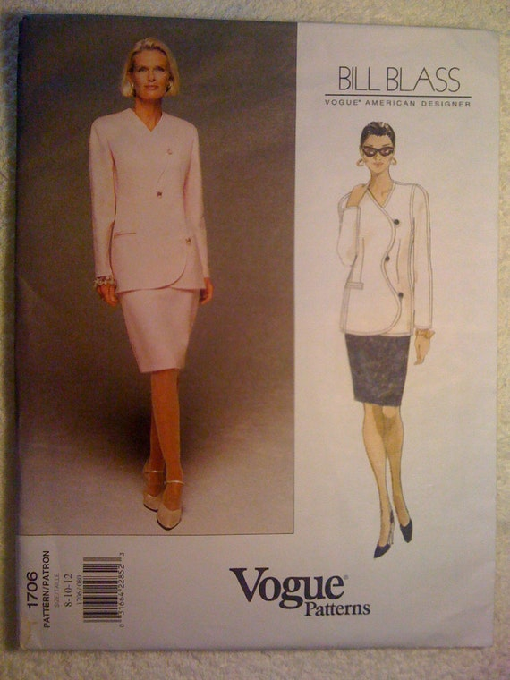 Vogue 90s Pattern 1706 by Bill Blass Misses Jacket and Skirt Size 8, 10, 12 Sale