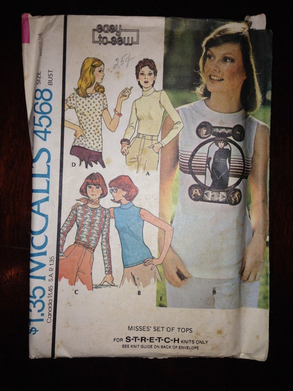 Misses Set Of Tops McCalls Sewing Pattern 4568 70s Size 14-16