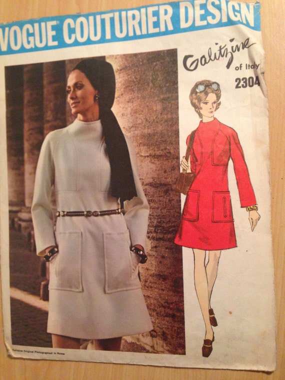 Vogue Sewing Pattern 2304 Misses One Piece Dress 60s Size 8