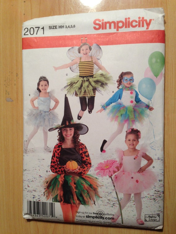 Simplicity 2071 Sewing Pattern Girl's Costume Princess, Witch, Bumble Bee, Ballerina and Jester Size 3-6