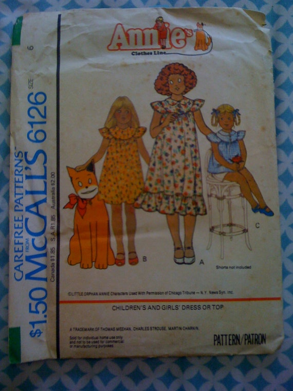 McCalls 70s Sewing Pattern 6126 Girls Dress or Top Annie | Etsy