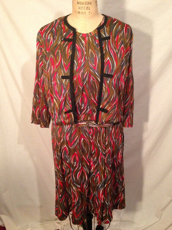 Vintage 3 Piece Multi Colored Swirl Dress Jacket and Belt