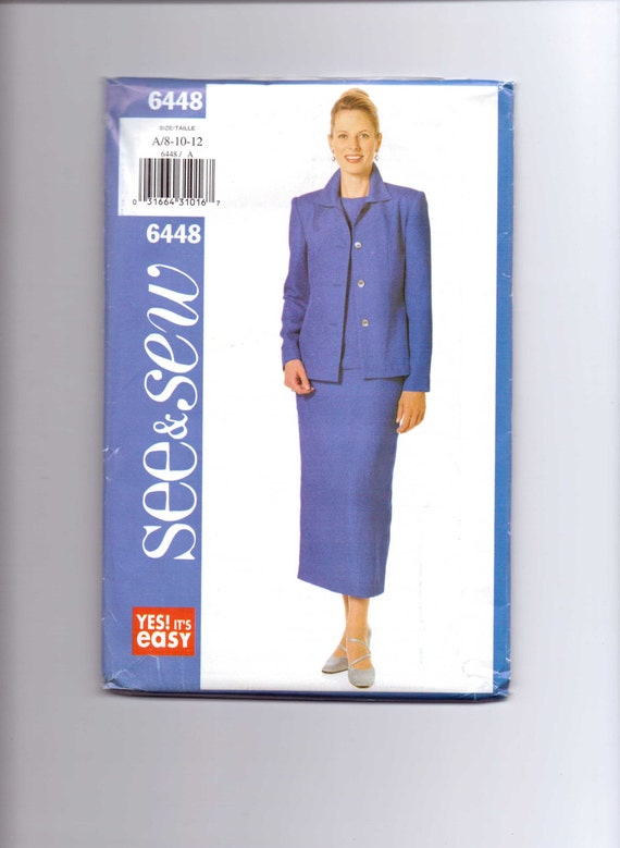 Butterick 6448 Sewing Pattern 90s See and Sew Uncut Misses and Misses Petite Jacket, Top and Skirt Size 8-10-12