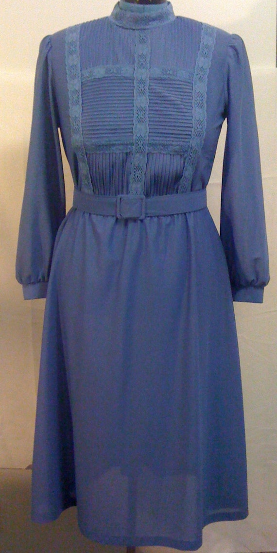 Vintage Dark Blue Long Sleeve Belted Dress by Cathy Sue Size 12