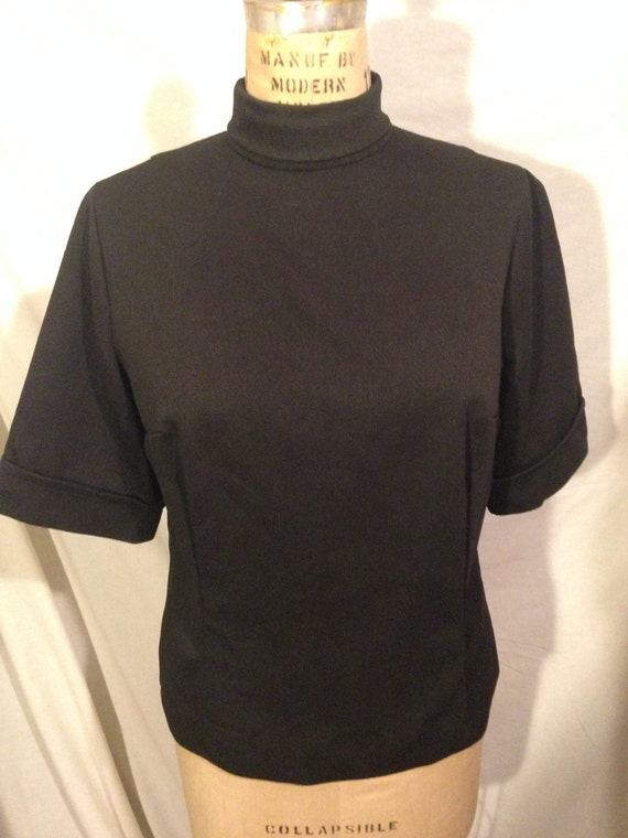 Vintage Black Polyester Short Sleeve Top
