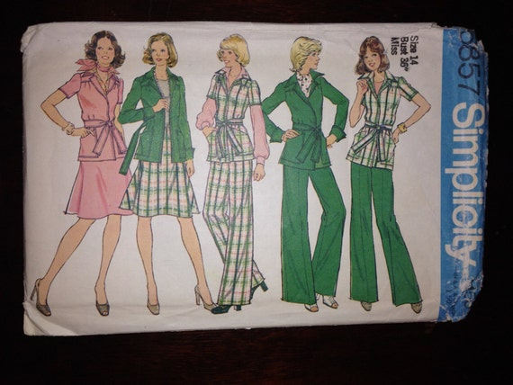Simplicity 6857 Sewing Pattern Uncut 70s Misses Unlined Front-Wrap Jacket, Skirt and Pants Size 14