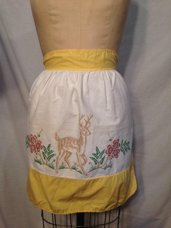 Vintage Deer Half Apron