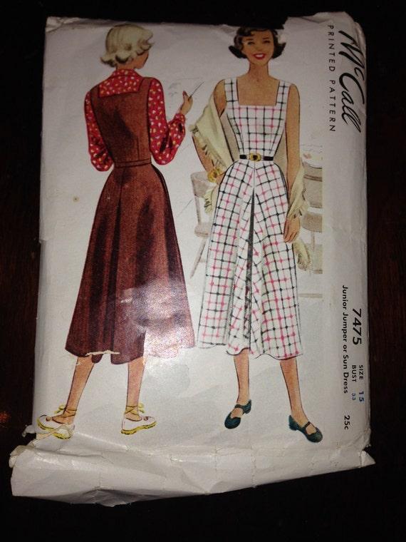 Juniors Jumper or Sun Dress McCalls Sewing Pattern 7475 40s Size 15