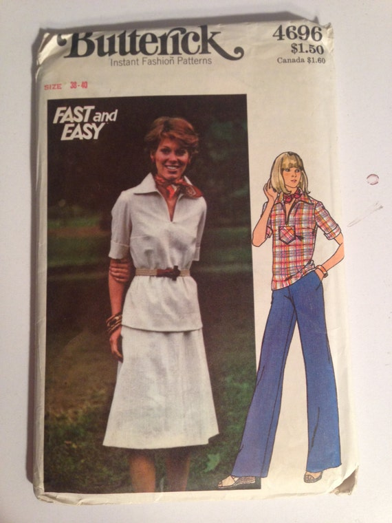 Butterick 4696 Sewing Pattern 70s UNCUT Fast and Easy Womens Top, Skirt and Pants Size 38-40