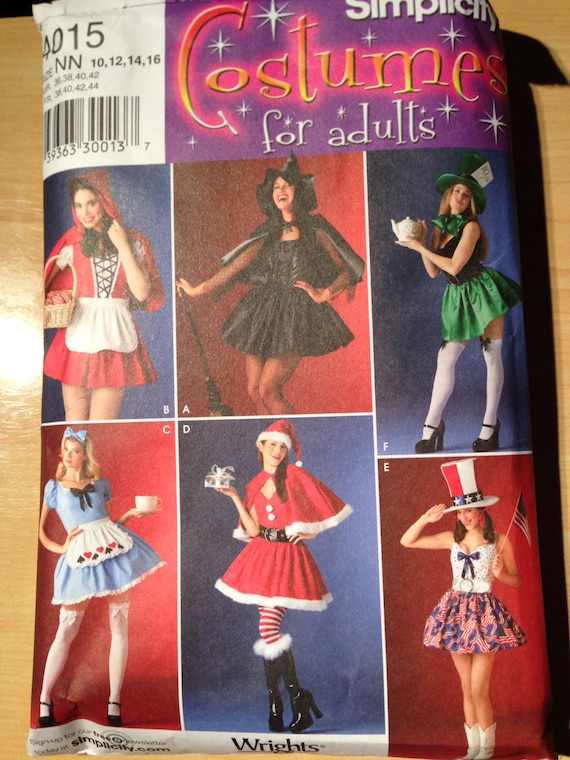 Simplicity Sewing Pattern 4015 Misses Red Riding Hood, Witch, Mad Hatter, Alice in Wonderland, Mrs Clause and Patriotic Costume Size 12-16