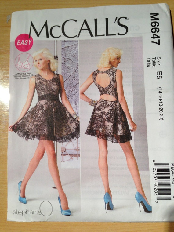 McCalls Sewing Pattern 6647 Misses Lined Dress Size 14-22