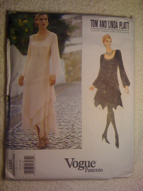 Vogue 90s Sewing Pattern 1737 by Tom and Linda Platt Misses Dress Size 12, 14, 16 Sale