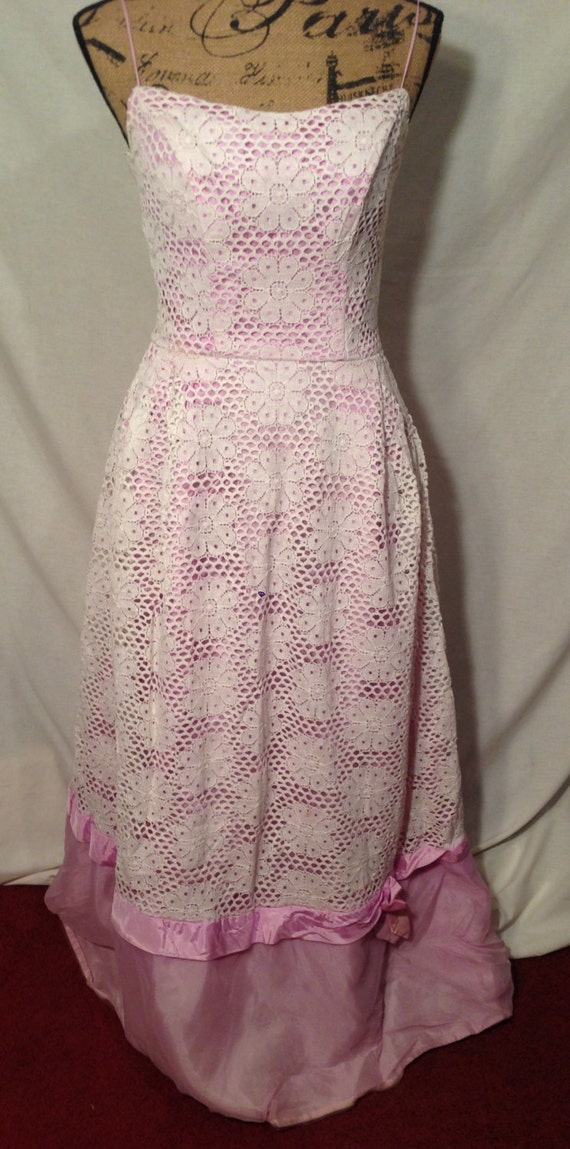 Vintage Purple and White Lace Strap Dress Handmade