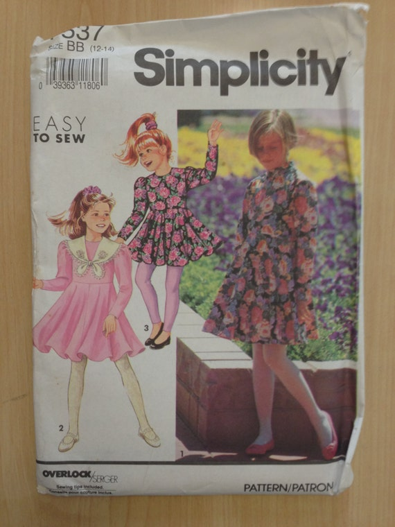 Simplicity Sewing Pattern 7537 Girls Dress in two Lengths and Leggings Size 12-14 90s Sale