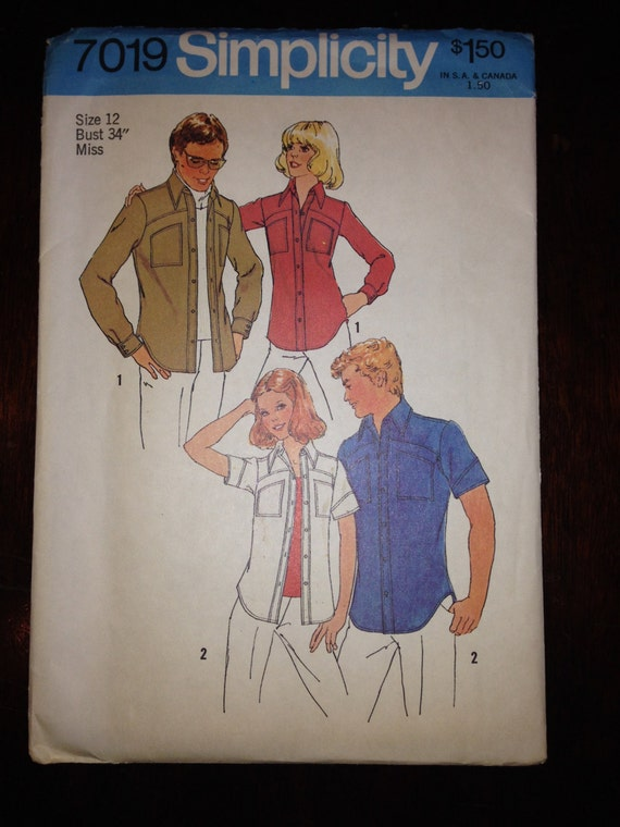 Simplicity 7019 Sewing Pattern Uncut 70s Misses Button Up Shirt Size 12
