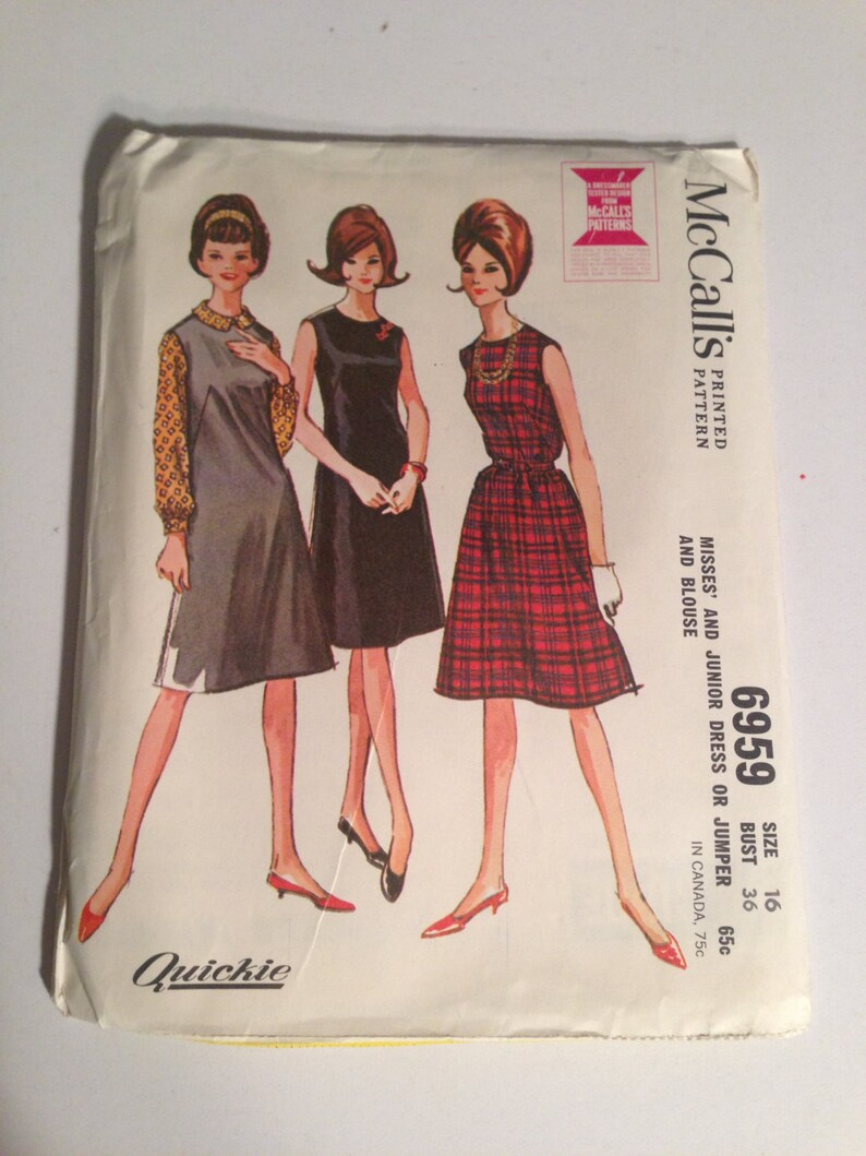4ba6bac1700 McCalls 60s Sewing Pattern 6959 Misses and Junior Dress or   Etsy