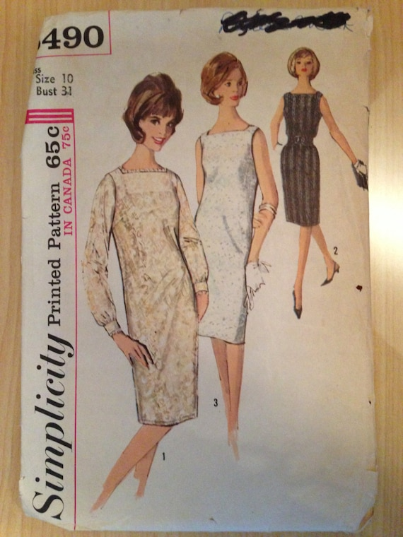 Simplicity 5490 Sewing Pattern 1960s Misses One-Piece Dress and Slip Size 10