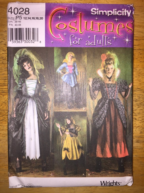 Simplicity Sewing Pattern 4959 Misses Steampunk, Gothic Victorian Dress, Bodice and Overskirt Size 12-20