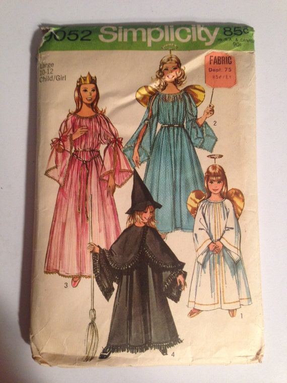 Child's and Girls' Angel, Fairy, Witch and Princess Costumes Simplicity Vintage Sewing Pattern 9052 70s Size 10-12