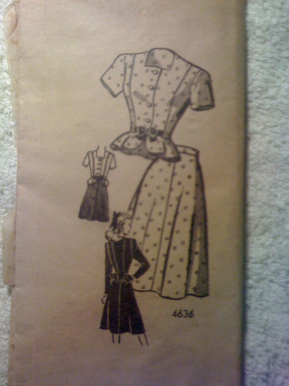 Anne Adams 70s Mail Order Sewing Pattern 4636 Junior Misses Jacket and Skirt Size 11