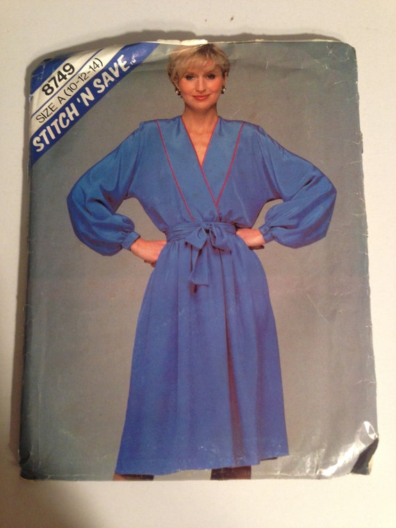 McCall's Sewing Pattern 8749 80s Misses Dress and Tie Belt Size 10-14