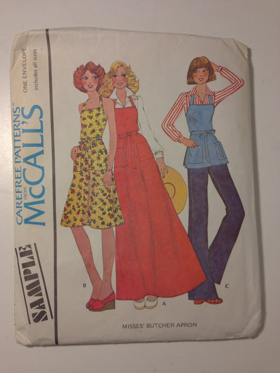 McCalls 70s Sewing Carefree Pattern Uncut Sample Misses Butcher Apron Size 6-20