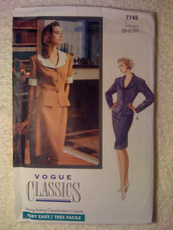 Vogue Classics 7745 Sewing Pattern 1990s Misses Top and Skirt Size 6-8-10
