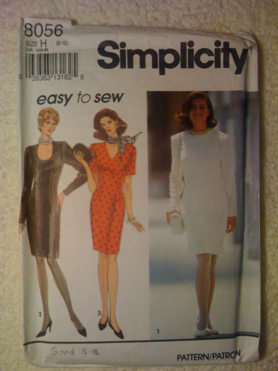 Simplicity 8056 Sewing Pattern 90s Misses and Miss Petite Dress with Neckline Variations Size 6-10