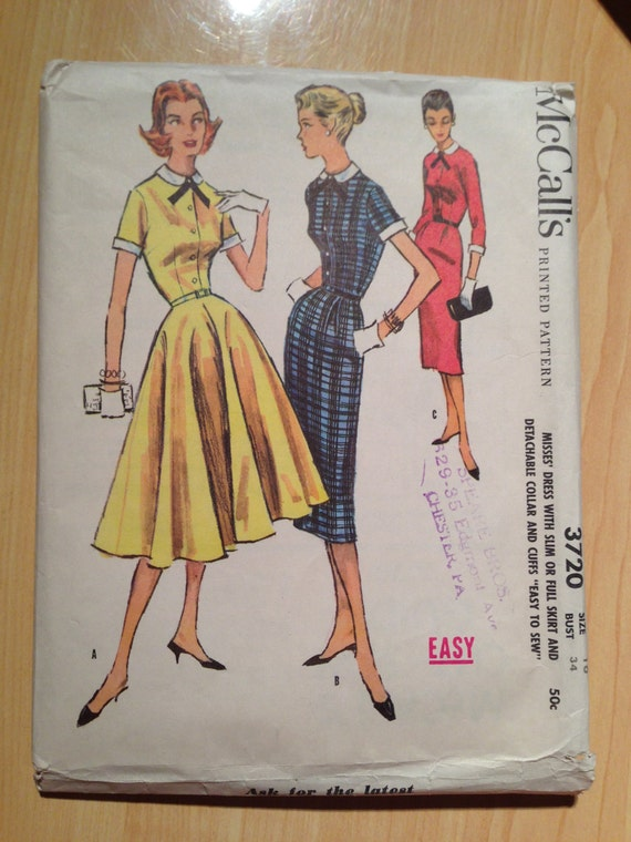 Misses Dress with Slim or Full Skirt and Detachable Collar and Cuffs McCalls Sewing Pattern 3720 50s Size 16
