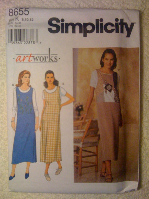 Simplicity 8655 Sewing Pattern 90s Uncut Misses Jumper Size 8-10-12
