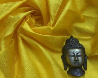 Sunny Yellow Raw Silk, 100% Pure Silk, Indian Silk Fabric,  Pure Silk Dupioni, Raw Mulberry Silk - Indian Dupioni Silk by Yard, Dress Fabric