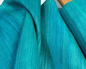 Teal Blue Tussar Silk Fabric, 100% Organic Silk, Handwoven Tussar Silk Fabric, Textured Silk Fabric, Silk Fabric For Cosplay Costumes