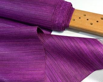 Purple Tussar Silk Fabric, 100% Organic Pure Silk, Handwoven Tussar Silk Fabric, Textured Silk, Handmade Silk Fabric For Cosplay Costumes