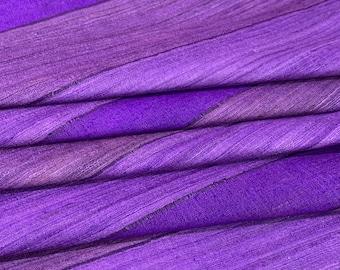 Purple Ribbed Textured Pure Silk Tussar Silk Fabric, Ahimsa Silk, Eri Silk, Cruelty Free Highly Textures Silk Fabric, Dress and Furnishing