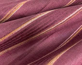 Plum Ribbed Textured Pure Silk Tussar Silk Fabric, Ahimsa Silk, Eri Silk, Cruelty Free Highly Textures Silk Fabric, Dress and Furnishing