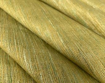 1 Yard Extra Wide Peace Silk, Green Textured Pure Silk Tussar Silk Fabric, Ahimsa Silk, Eri Silk, Cruelty Free Highly Textures Silk Fabric