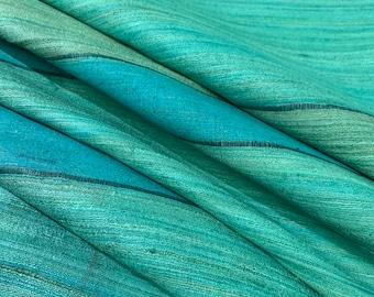Green Ribbed Textured Pure Silk Tussar Silk Fabric, Ahimsa Silk, Eri Silk, Cruelty Free Highly Textures Silk Fabric, Dress and Furnishing