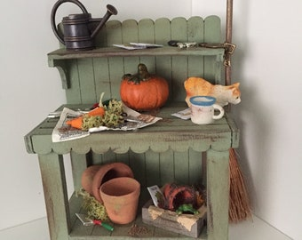 DOLLS HOUSE 1/12th scale potting bench, gardener witch hand crafted miniature
