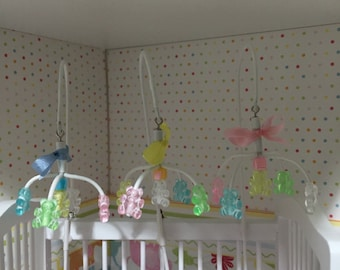 DOLLS HOUSE 1/12th scale hand crafted cot mobile with teddies