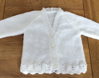 SALE PRICE Hand knitted white baby cardigan
