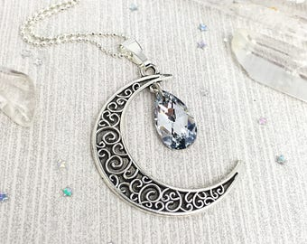 Moon Necklace Silver, Moon Pendant, Moon Gift for Her, Crescent Necklace, Moon Jewelry, Moon Phase Necklace Fantasy Jewelry Fantasy Necklace