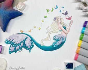 Mermaid Art Print, Rainbow Butterfly Wall Art, Beach Art Blonde Mermaid Painting, Fairy Art, Kawaii Mermaid Decor, Coastal Decor Butterflies