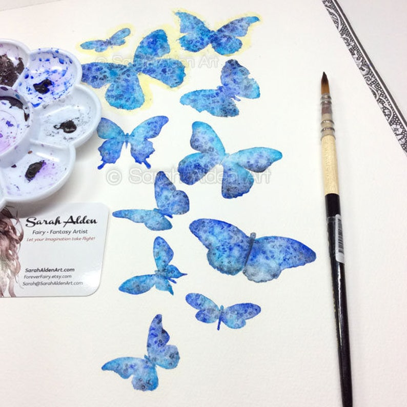 766f36fe69d Blue Butterfly Art Print Watercolor Butterflies Painting