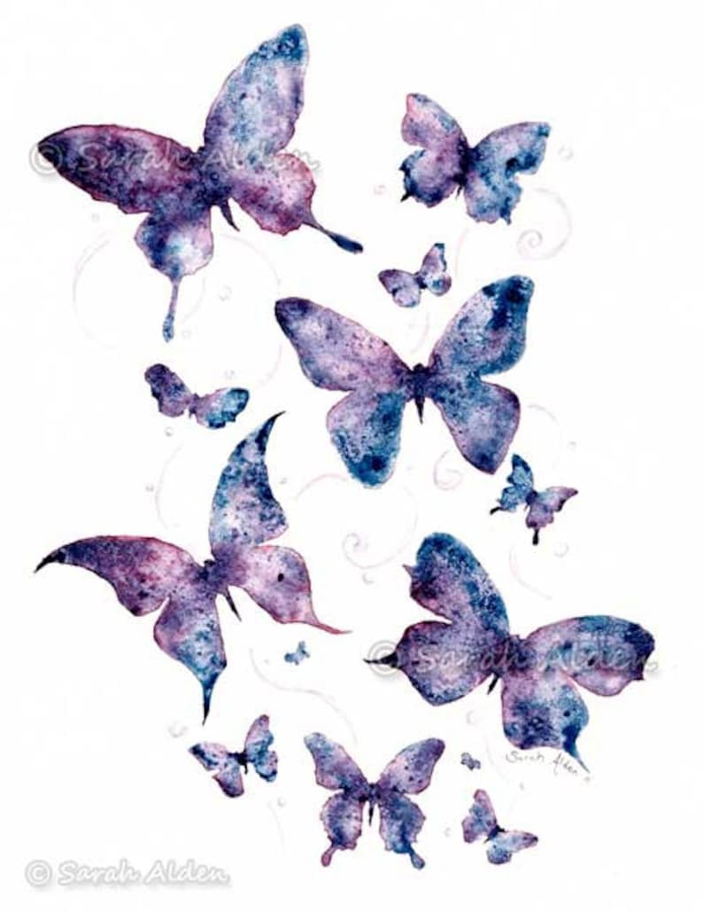 Purple Butterfly Art Watercolor Butterfly Painting Wall Etsy