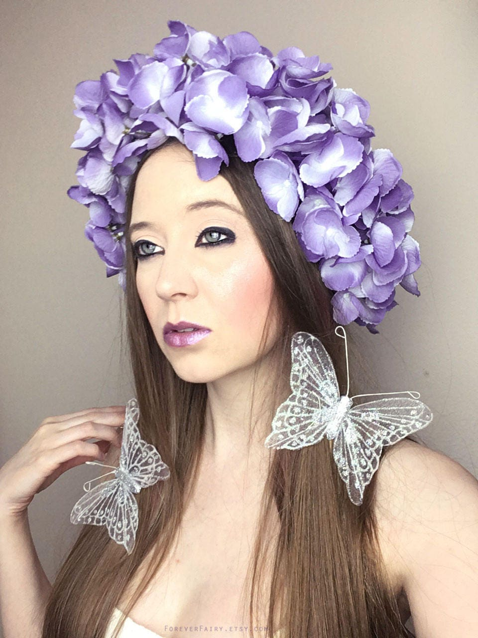 Purple flower crown adult floral crown woodland butterfly etsy zoom izmirmasajfo