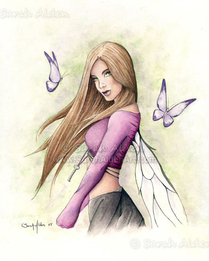 797d237057f Watercolor Fairy Painting Purple Butterfly Female Print